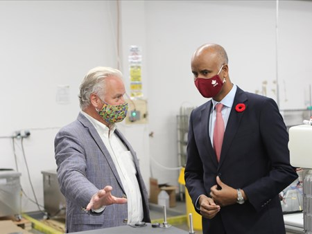 On Oct 30, 2020, the Honorable Ahmed Hussen (MP York South-Weston) toured dynaCERT's Toronto assembly plant and learned about HydraGEN™ Technology from DYA COO & Chief Engineer Robert Maier 21272 on oct 30 2020 the honorable ahmed hussen (mp york 1