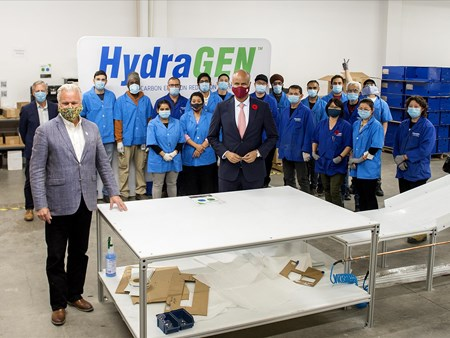 On Oct 30, 2020, the Honorable Ahmed Hussen (MP York South-Weston) toured dynaCERT's Toronto assembly plant and learned about HydraGEN™ Technology from DYA COO & Chief Engineer Robert Maier 21272 on oct 30 2020 the honorable ahmed hussen (mp york 2