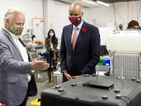 On Oct 30, 2020, the Honorable Ahmed Hussen (MP York South-Weston) toured dynaCERT's Toronto assembly plant and learned about HydraGEN™ Technology from DYA COO & Chief Engineer Robert Maier 21272 on oct 30 2020 the honorable ahmed hussen (mp york 5
